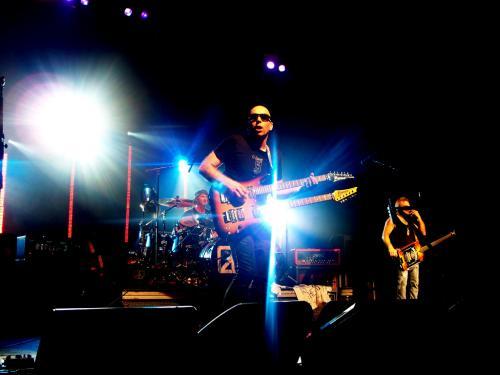 Joe Satriani with a double neck Ibanez