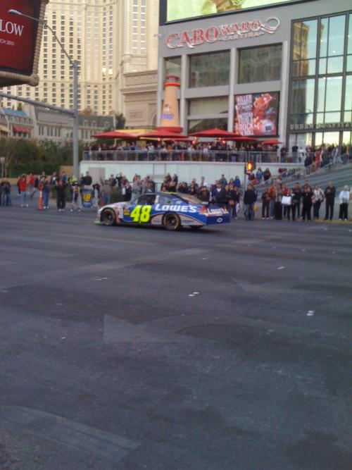 Jimmie Johnson (Sammys favorite driver) driving by the Cabo Wabo Cantina, Las Vegas