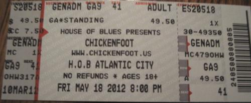 Cliff&#039;s Atlantic City House Of Blues May 18th Chickenfoot Ticket!